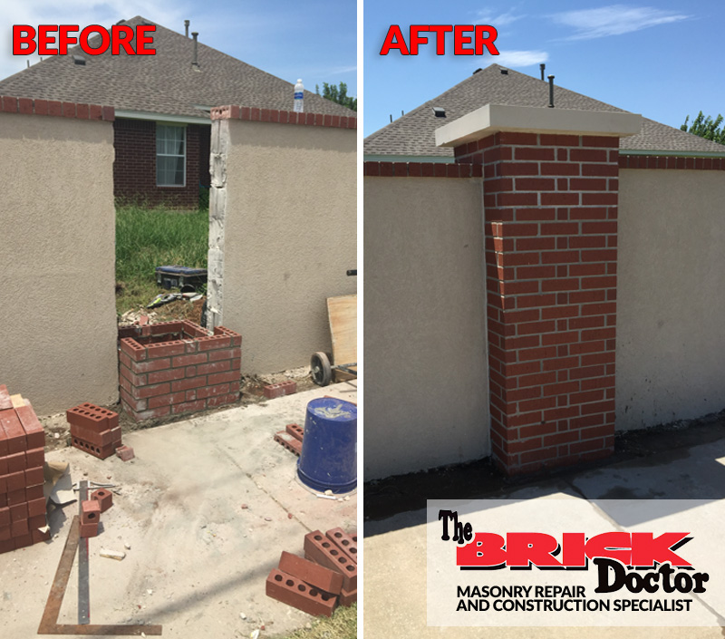 before and after view of brick replacement