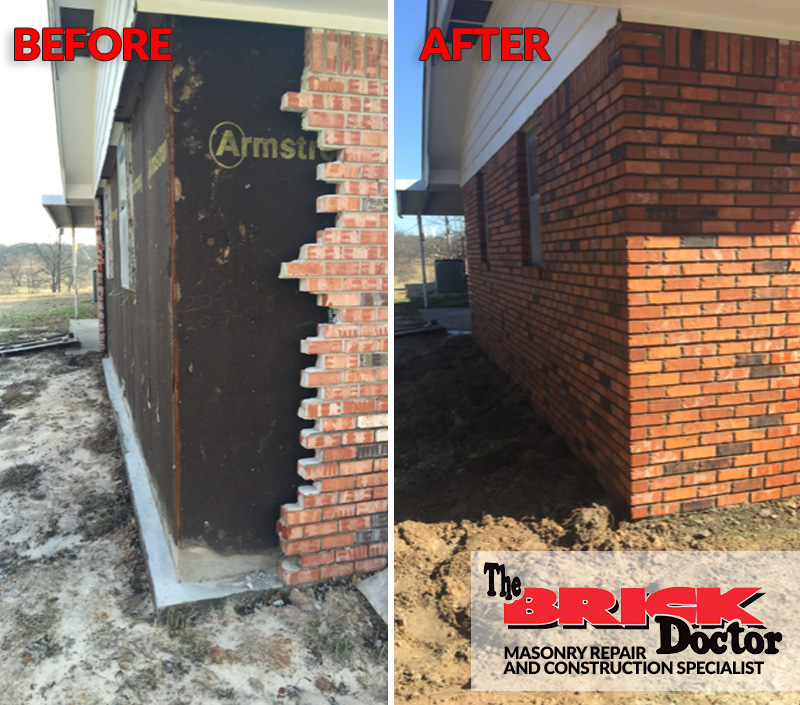repaired brick on side of house